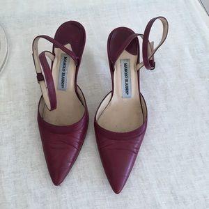 Manolo Blahnik Cabernet leather heels